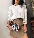 Юбка женская эко- кожа беж чёрная 42-44 44-46, фото 4