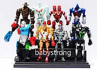 Коллекция фигурок 8 шт JAKKS Роботы Боксеры / Real Steel / Живая Сталь 13 См + Свет Большие