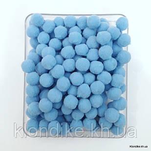 """Помпоны """"Велюр"""", 1.5 см, Цвет: Голубой (50 шт.)"""