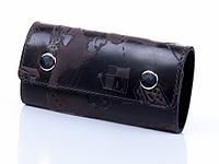 """Красивая коричневая кожаная ключница с креплением на карабине, коллекция """"7 wonders of the world"""""""