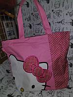 Уценка ( все видно на фото ) Сумка городская , пляжная, школьная ,детская  розовая Hello Kitty    к.10282