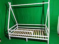 Детская Кроватка  из натурального дерева Эскимос с ножками Ольха, С покраской, Больше 160*90