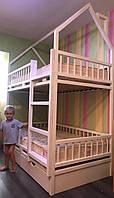 Детская двухъярусная Кроватка Домик, фото 1