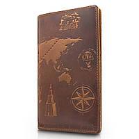 """Красивое кожаное портмоне янтарного цвета с художественным тиснением """"7 wonders of the world"""""""
