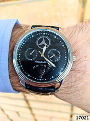 Часы мужские в стиле Mercedes Benz. Мужские наручные часы черные. Часы с черным циферблатом Годинник чоловічий