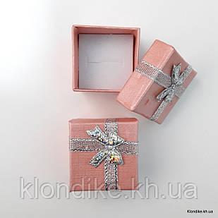 Подарочная коробочка для колец, картон, 4×4×3 см, Цвет: Розовый