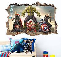 3D интерьерные виниловые наклейки на стены Халк, Тор, Капитан Америка 70-50 см в детскую .Обои Марвел Мстители