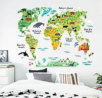 3D интерьерные виниловые наклейки на стены Карта Мира Звери 90-60 см в детскую № 1 . Декор, Обои