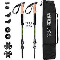 Треккинговые палки для ходьбы USA HIKER HUNGER карбон 100% Ультралегкие карбоновые