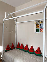 Детская деревянная кроватка Домик с горизонтальным бортиком, фото 1