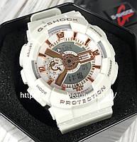 Спортивные наручные часы Касио джи шок Casio G-Shock (replica) белые с золотыми стрелками