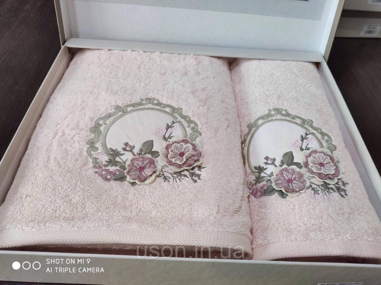 Набор махровых полотенец бамбук 50*90 и 70*140 TM PUPILLA  Турция Розовый 4