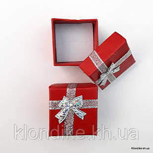 Подарочная коробочка для колец, картон, 4×4×3 см, Цвет: Красный