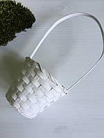 Кошик из натурального бамбукового шпона белый ( диаметр 11 см )