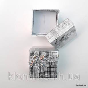 Подарочная коробочка для колец, картон, 4×4×3 см, Цвет: Серебро