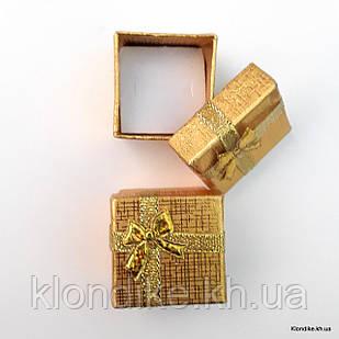 Подарочная коробочка для колец, картон, 4×4×3 см, Цвет: Золото