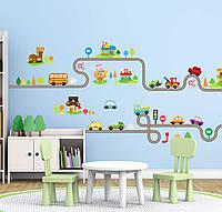 3D интерьерные виниловые наклейки на стены Машинки с Дорогой - Дома 2 листа 90-30 см в детскую . Декор,Обои