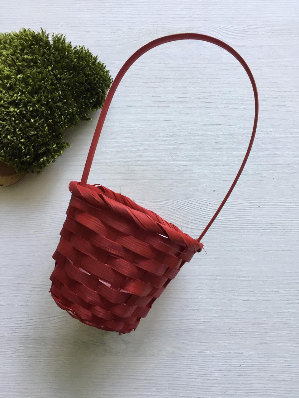 Кошик из натурального бамбукового шпона красный ( диаметр 11 см )