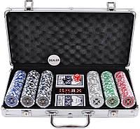 Покерный набор на 300 фишек в кейсе с номиналом.