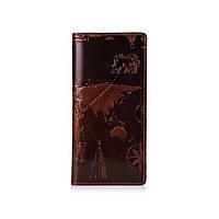 """Эргономический бумажник с глянцевой кожи коньячного цвета на 14 карт с авторским художественным тиснением """"7 wonders of the world"""""""