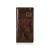 """Эргономический дизайнерский кожаный бумажник на 14 карт оливкового цвета с авторским художественным тиснением """"7 wonders of the world"""""""