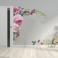 3D интерьерные виниловые наклейки на стены Пионы, Розы - цветы 2 листа  90 x 30 см  № 5 в детскую .Обои
