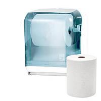 Держатель диспенсер бумажных рулонных полотенец полуавтоматический с рычагом ACQUALBA прозрачный пластиковый