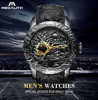 Стильные мужские наручные часы MEGALITH! Кварцевые часы со скульптурой дракона и водонепроницаемым корпусом!