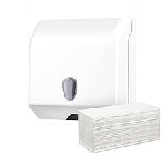 Диспенсер держатель для листовых полотенец в пачках V складка пластиковый белый настенный прочный