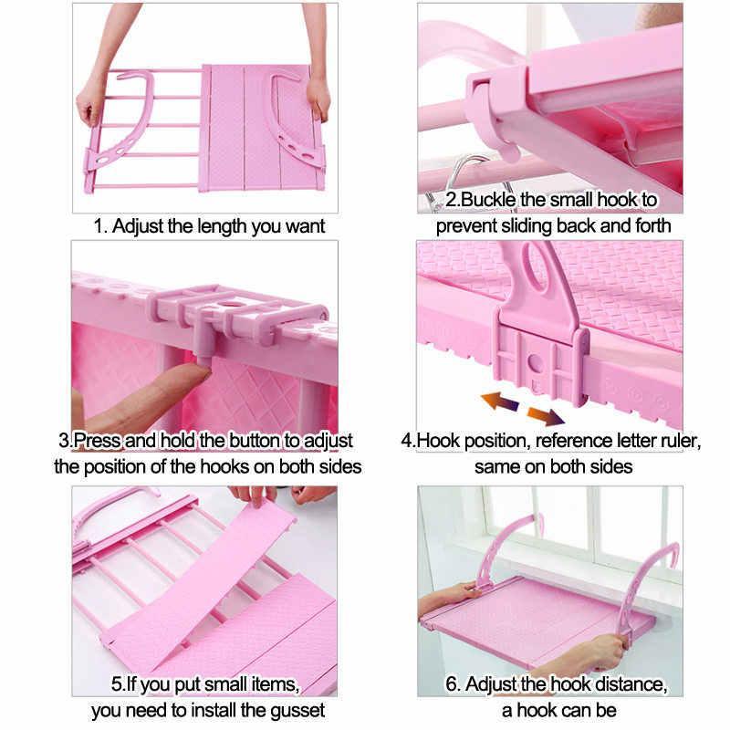 Полиця підвісна домашня балконні регульована складна сушилка для одягу та взуття
