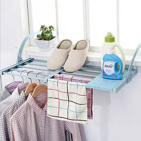 Полка подвесная домашняя балконная регулируемая складная сушилка для одежды и обуви, фото 2
