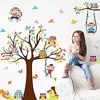 3D интерьерные виниловые наклейки на стены Дерево с Зверями обезьяны- совы- бабочки 90-60 см в детскую .Обои