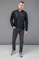 Черная короткая мужская куртка осенне-весенняя молодежная модель 36361