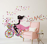 """3D интерьерные виниловые наклейки на стены """"Фея на велосипеде с цветами и бабочками"""" 90-60 см в детскую. Декор"""