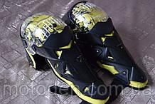 Наколінники шарнірні, захист колін і гомілки GHOST RACING (жовта вставка). Універсальний розмір.