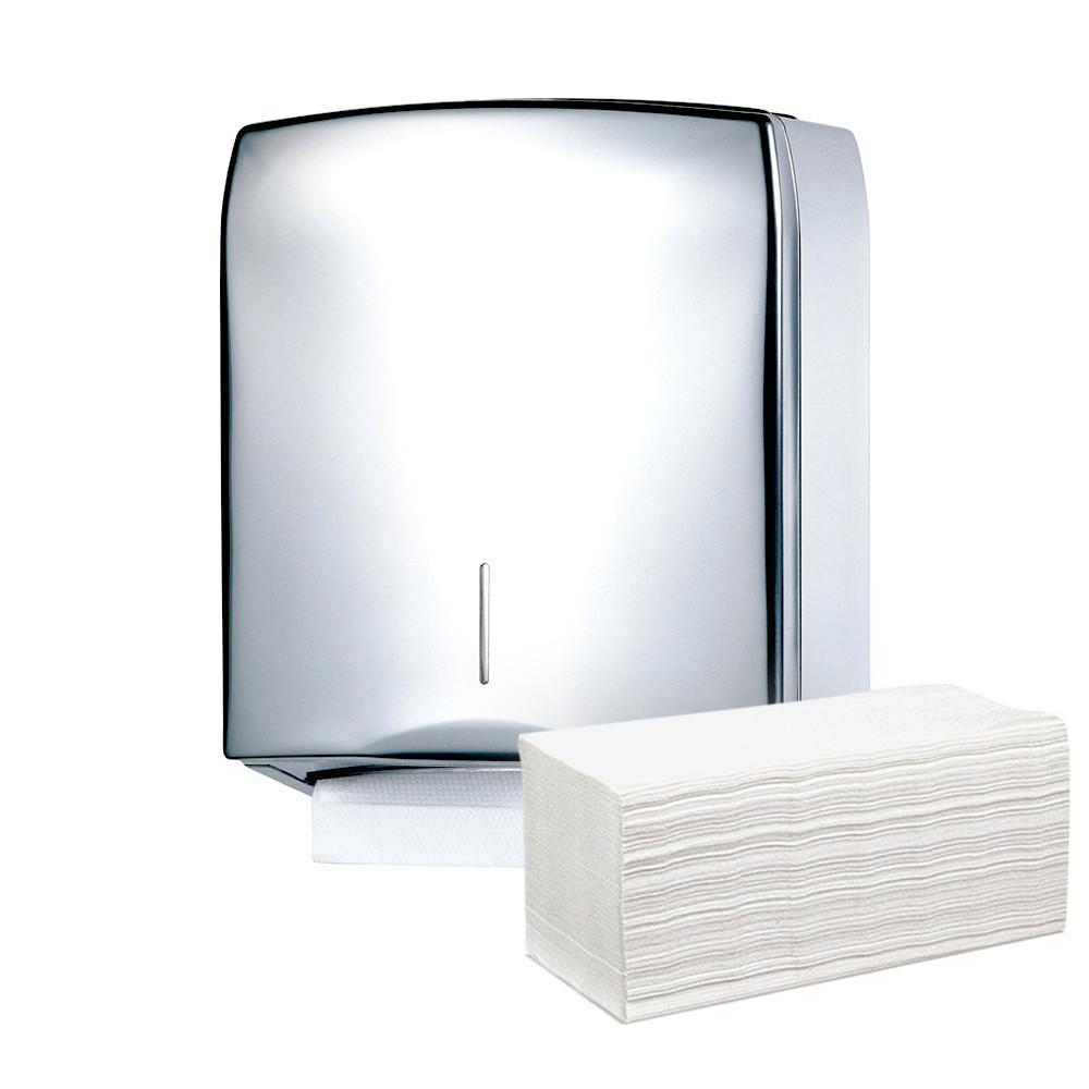 Диспенсер раздатчик универсальный для листовых полотенец Z V сложения из нержавеющей стали глянцевый настенный