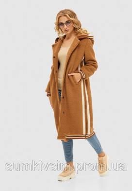 Женское демисезонное  пальто кэмел цвета