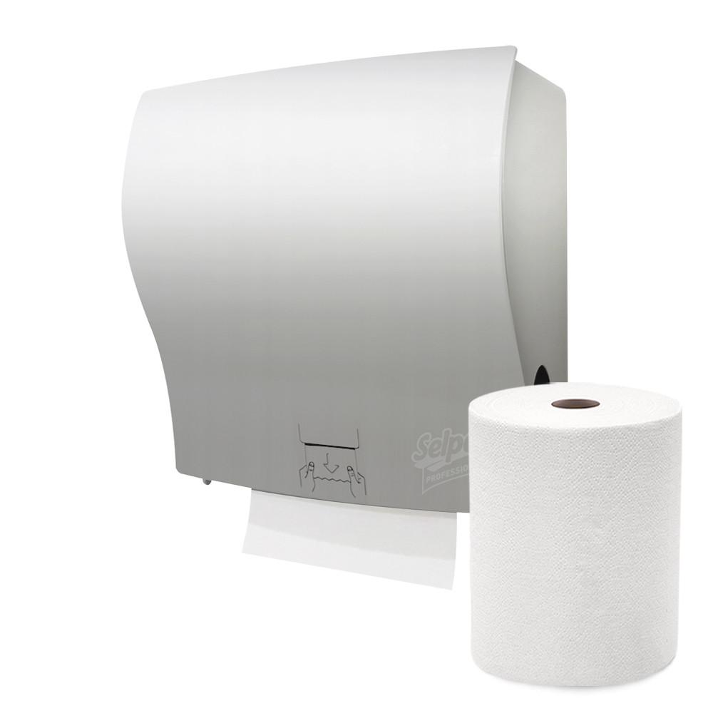 Диспенсер сенсорный держатель для полотенец Selpak Professional сатин пластиковый настенный