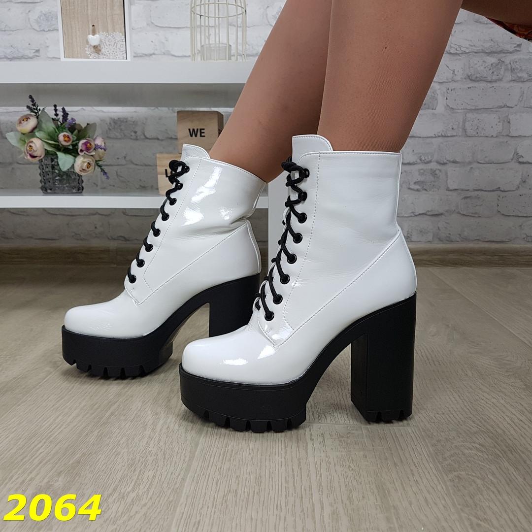 Демисезонные женские белые ботинки, эко кожа