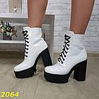 Демисезонные женские белые ботинки, эко кожа, фото 2