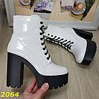 Демисезонные женские белые ботинки, эко кожа, фото 3