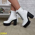 Демисезонные женские белые ботинки, эко кожа, фото 7