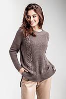 Стильный теплый женский вязаный свитер джемпер с узором большого размера батал, фото 1