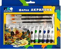 Краски акриловые 12 цветов х 12 мл./в тубе + кисти и палитра NeoLine