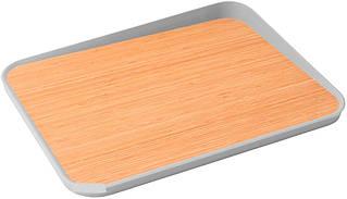 Разделочная доска с углом 41x30.5x4 см Leo line серый 3950088