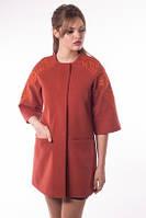 Женское демисезонное  кашемировое пальто терракотового  цвета