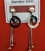 """Брендовые серьги с цепочками. Серьги гвозди """"Бижутерия оптом RRR"""". 2431"""