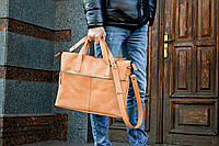 Кожаная мужская сумка для ноутбука коричневая, фото 1
