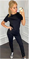 Спортивный костюм футболка штаны Черный Большой размер