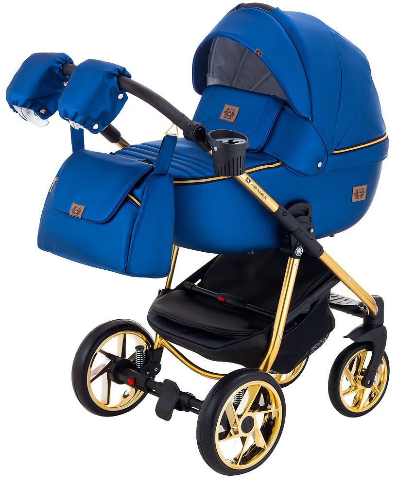 Дитяча коляска 2в1 Adamex Hybryd Plus Polar (Gold) Y220А Темно-синій перламутр